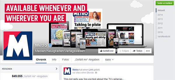 Metro auf Facebook