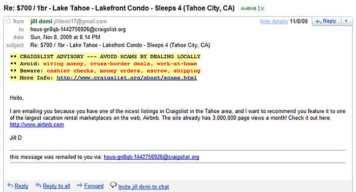 Airbnb Craigslist Mailspam